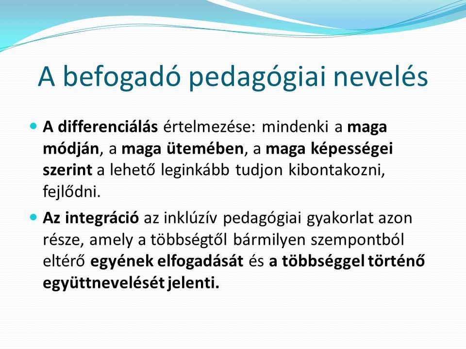 A befogadó pedagógiai nevelés A differenciálás értelmezése: mindenki a maga módján, a maga ütemében, a maga képességei szerint a lehető leginkább tudj