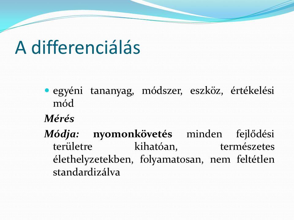 A differenciálás egyéni tananyag, módszer, eszköz, értékelési mód Mérés Módja: nyomonkövetés minden fejlődési területre kihatóan, természetes élethely
