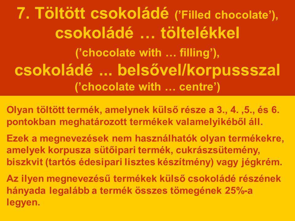 7. Töltött csokoládé ('Filled chocolate'), csokoládé … töltelékkel ('chocolate with … filling'), csokoládé... belsővel/korpussszal ('chocolate with …
