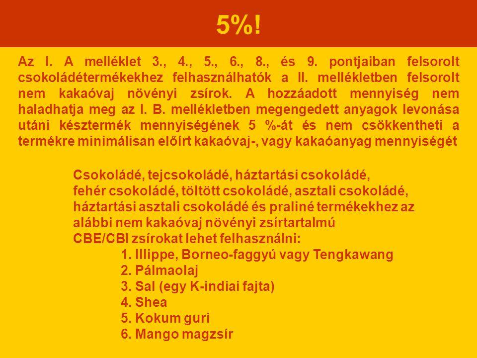 5%! Az I. A melléklet 3., 4., 5., 6., 8., és 9. pontjaiban felsorolt csokoládétermékekhez felhasználhatók a II. mellékletben felsorolt nem kakaóvaj nö