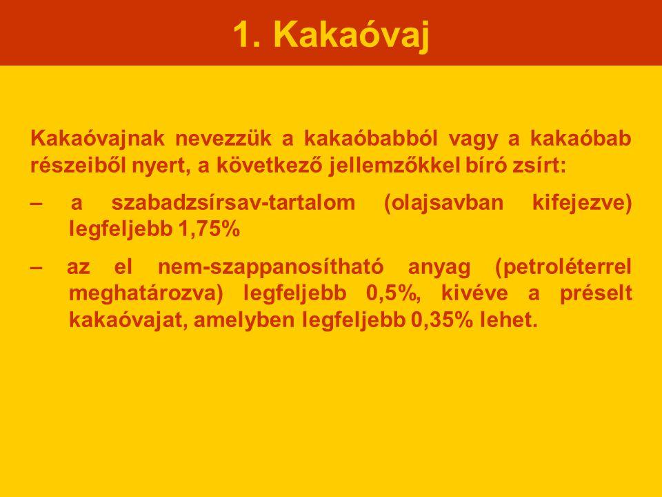 1. Kakaóvaj Kakaóvajnak nevezzük a kakaóbabból vagy a kakaóbab részeiből nyert, a következő jellemzőkkel bíró zsírt: – a szabadzsírsav-tartalom (olajs