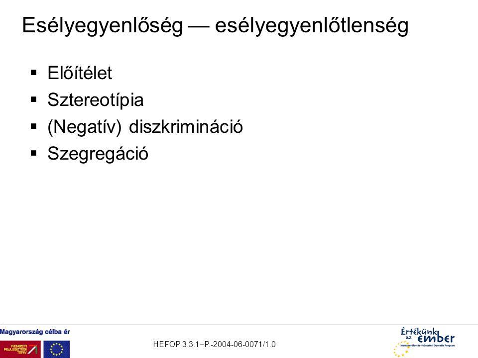 HEFOP 3.3.1–P.-2004-06-0071/1.0 Esélyegyenlőség — esélyegyenlőtlenség  Előítélet  Sztereotípia  (Negatív) diszkrimináció  Szegregáció