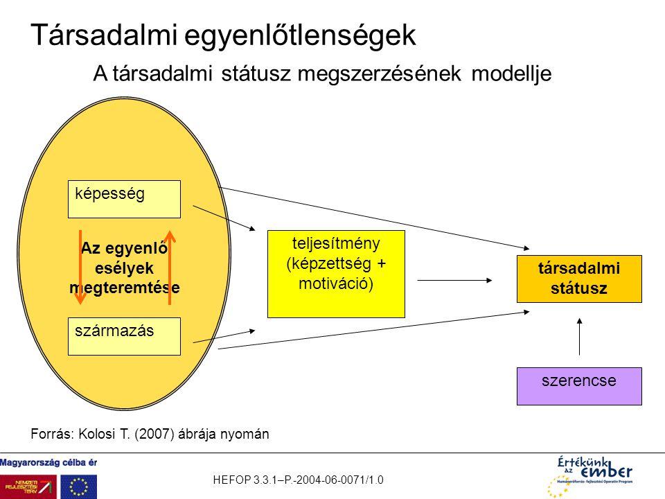 HEFOP 3.3.1–P.-2004-06-0071/1.0 Társadalmi egyenlőtlenségek Az egyenlő esélyek megteremtése képesség származás teljesítmény (képzettség + motiváció) t