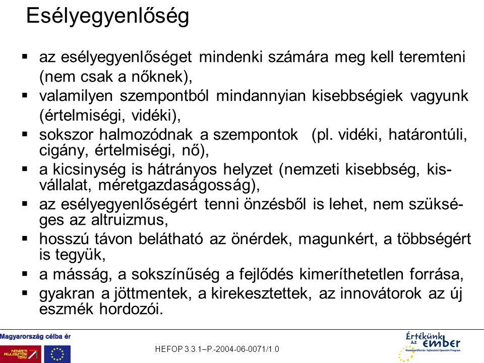 HEFOP 3.3.1–P.-2004-06-0071/1.0 Esélyegyenlőség  az esélyegyenlőséget mindenki számára meg kell teremteni (nem csak a nőknek),  valamilyen szempontb