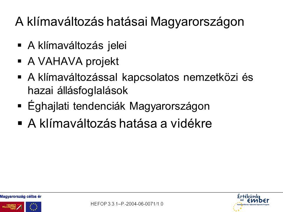 HEFOP 3.3.1–P.-2004-06-0071/1.0 A klímaváltozás hatásai Magyarországon  A klímaváltozás jelei  A VAHAVA projekt  A klímaváltozással kapcsolatos nem