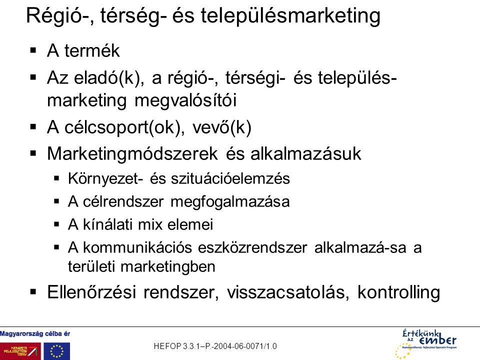 HEFOP 3.3.1–P.-2004-06-0071/1.0 Régió-, térség- és településmarketing  A termék  Az eladó(k), a régió-, térségi- és település- marketing megvalósító