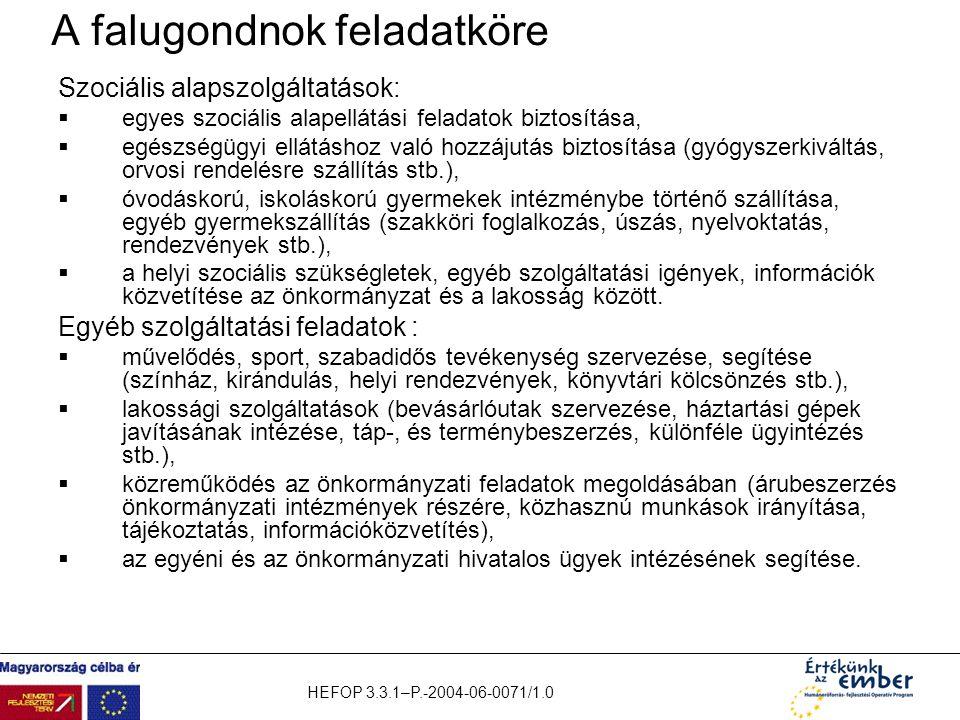 HEFOP 3.3.1–P.-2004-06-0071/1.0 A falugondnok feladatköre Szociális alapszolgáltatások:  egyes szociális alapellátási feladatok biztosítása,  egészs