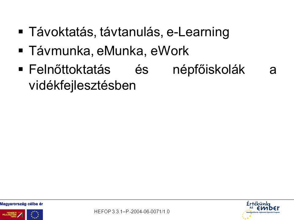 HEFOP 3.3.1–P.-2004-06-0071/1.0  Távoktatás, távtanulás, e-Learning  Távmunka, eMunka, eWork  Felnőttoktatás és népfőiskolák a vidékfejlesztésben