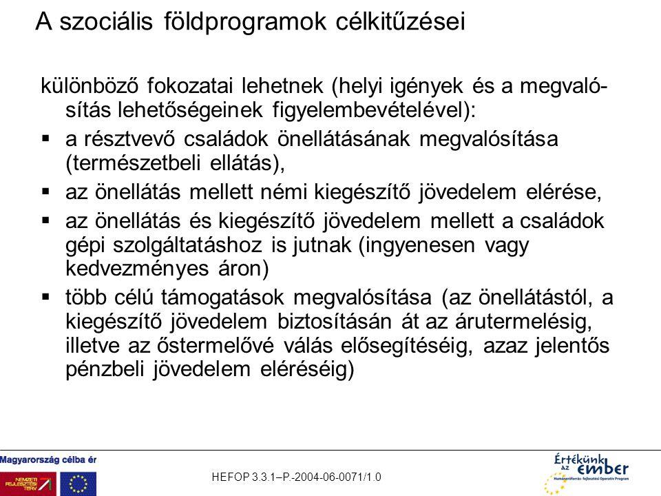 HEFOP 3.3.1–P.-2004-06-0071/1.0 A szociális földprogramok célkitűzései különböző fokozatai lehetnek (helyi igények és a megvaló- sítás lehetőségeinek