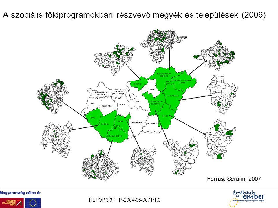 HEFOP 3.3.1–P.-2004-06-0071/1.0 A szociális földprogramokban részvevő megyék és települések (2006) Forrás: Serafin, 2007