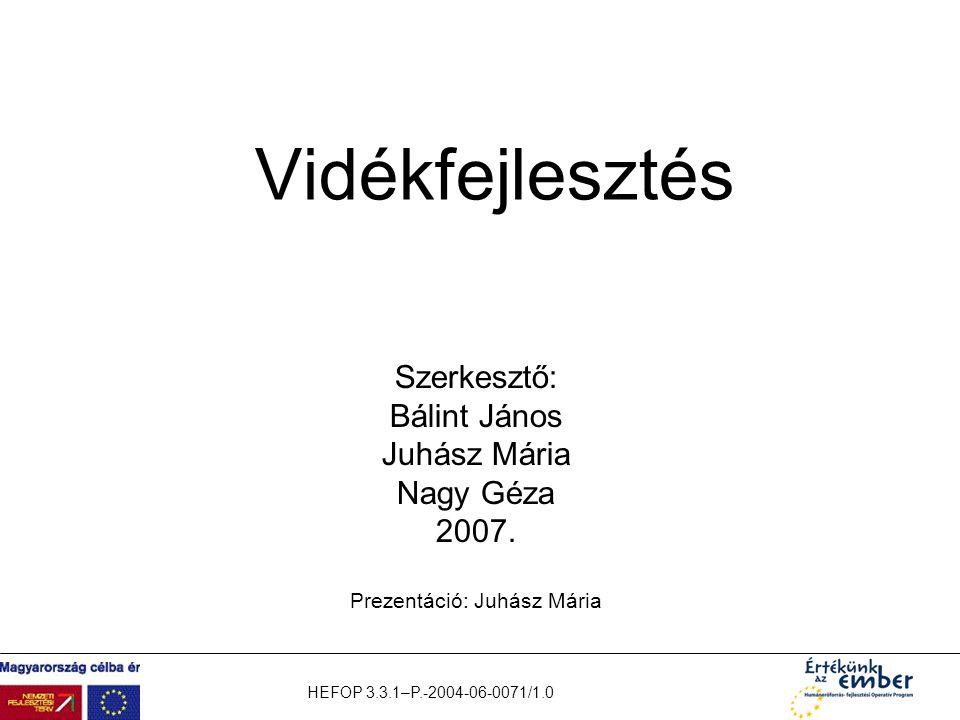 HEFOP 3.3.1–P.-2004-06-0071/1.0 Vidékfejlesztés Szerkesztő: Bálint János Juhász Mária Nagy Géza 2007. Prezentáció: Juhász Mária
