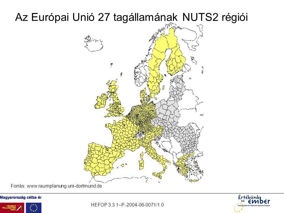 HEFOP 3.3.1–P.-2004-06-0071/1.0 Az Európai Unió 27 tagállamának NUTS2 régiói Forrás: www.raumplanung.uni-dortmund.de