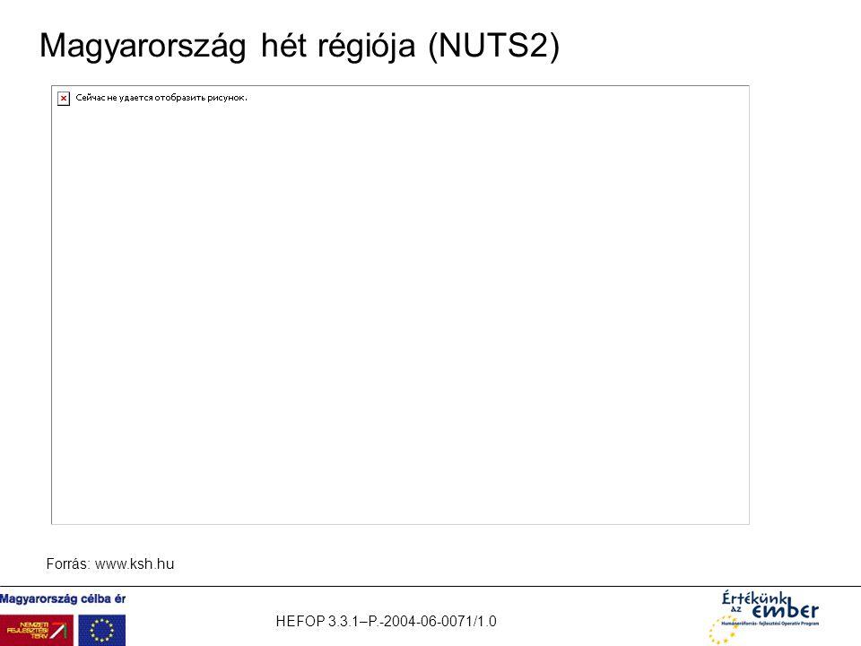 HEFOP 3.3.1–P.-2004-06-0071/1.0 Magyarország hét régiója (NUTS2) Forrás: www.ksh.hu