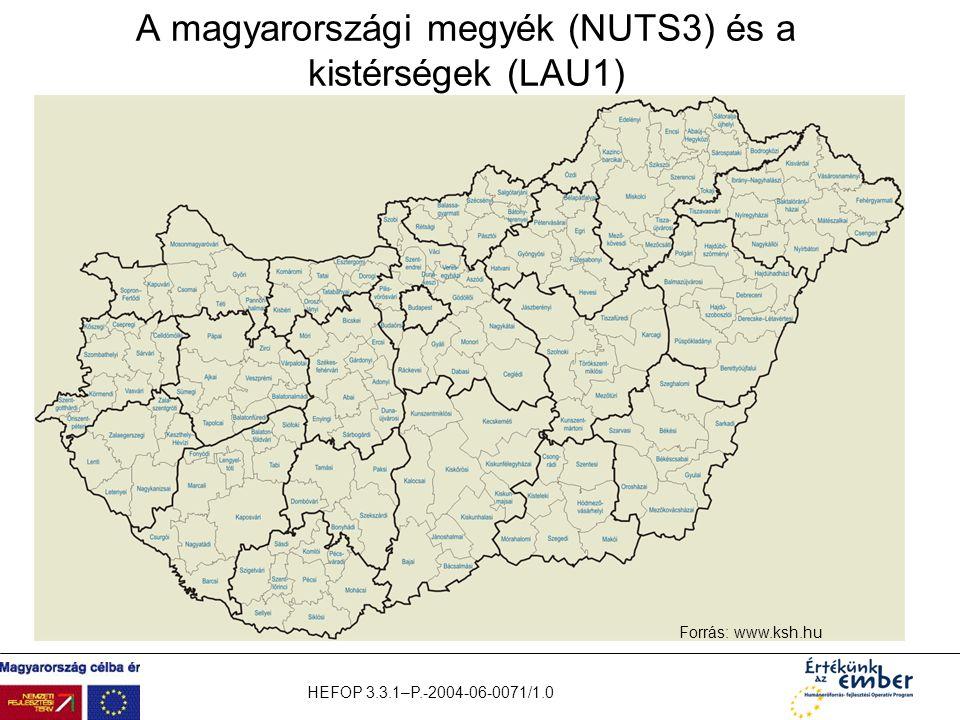 HEFOP 3.3.1–P.-2004-06-0071/1.0 A magyarországi megyék (NUTS3) és a kistérségek (LAU1) Forrás: www.ksh.hu