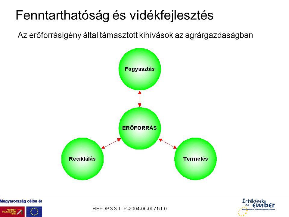 HEFOP 3.3.1–P.-2004-06-0071/1.0 Fenntarthatóság és vidékfejlesztés Az erőforrásigény által támasztott kihívások az agrárgazdaságban