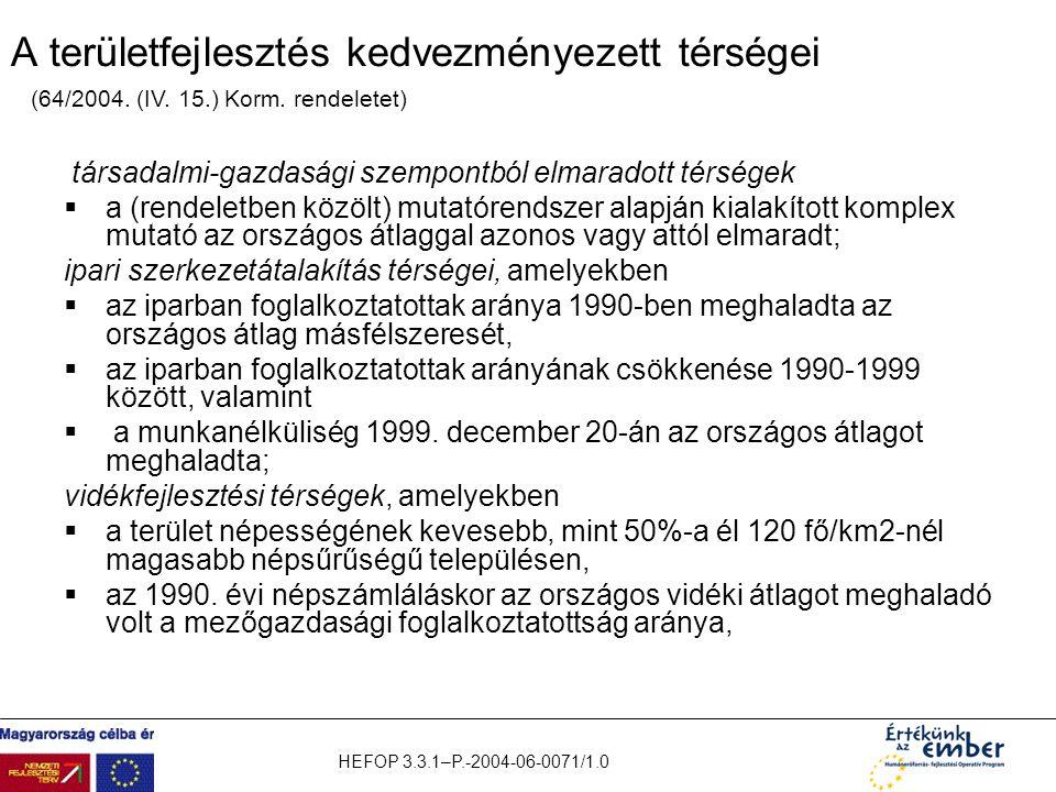 HEFOP 3.3.1–P.-2004-06-0071/1.0 A területfejlesztés kedvezményezett térségei társadalmi-gazdasági szempontból elmaradott térségek  a (rendeletben köz