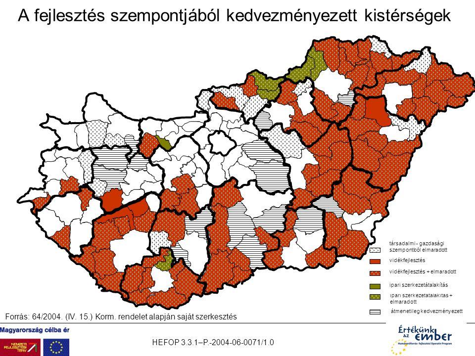 HEFOP 3.3.1–P.-2004-06-0071/1.0 A fejlesztés szempontjából kedvezményezett kistérségek vidékfejlesztés + elmaradott vidékfejlesztés társadalmi - gazda