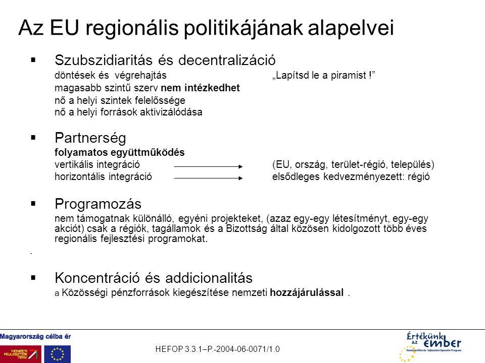 """HEFOP 3.3.1–P.-2004-06-0071/1.0 Az EU regionális politikájának alapelvei  Szubszidiaritás és decentralizáció döntések és végrehajtás""""Lapítsd le a pir"""
