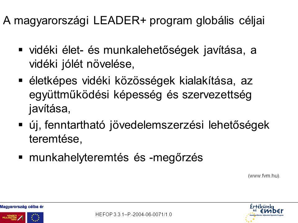 HEFOP 3.3.1–P.-2004-06-0071/1.0 A magyarországi LEADER+ program globális céljai  vidéki élet- és munkalehetőségek javítása, a vidéki jólét növelése,