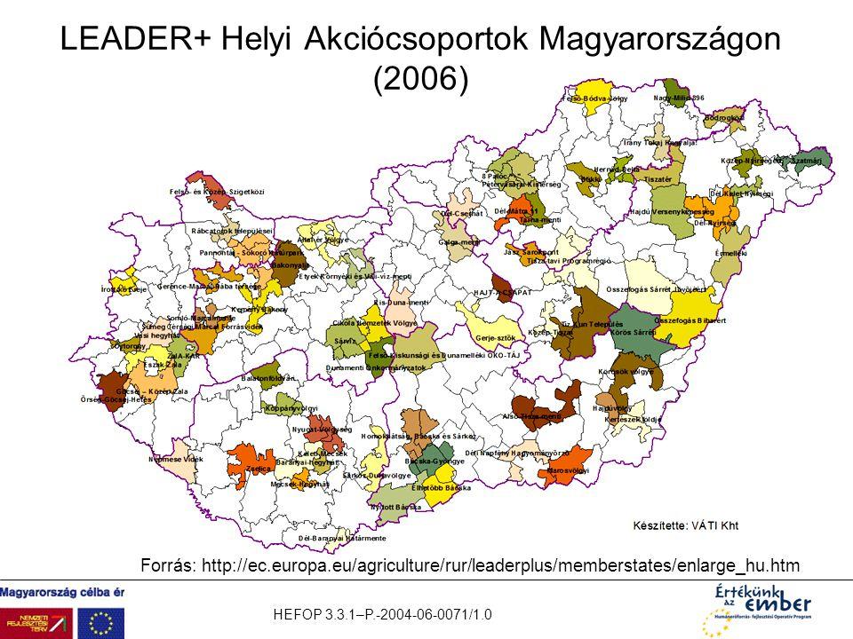 HEFOP 3.3.1–P.-2004-06-0071/1.0 LEADER+ Helyi Akciócsoportok Magyarországon (2006) Forrás: http://ec.europa.eu/agriculture/rur/leaderplus/memberstates