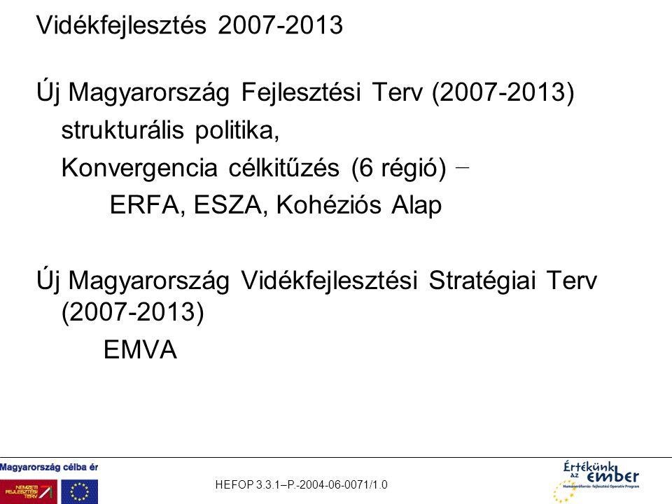 HEFOP 3.3.1–P.-2004-06-0071/1.0 Vidékfejlesztés 2007-2013 Új Magyarország Fejlesztési Terv (2007-2013) strukturális politika, Konvergencia célkitűzés