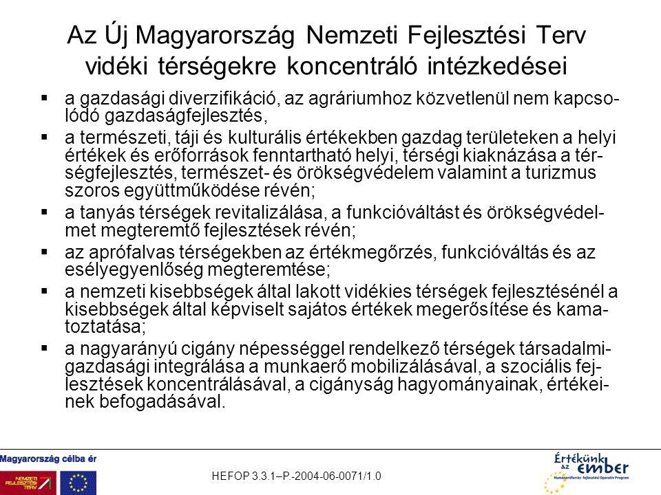 HEFOP 3.3.1–P.-2004-06-0071/1.0 Az Új Magyarország Nemzeti Fejlesztési Terv vidéki térségekre koncentráló intézkedései  a gazdasági diverzifikáció, a