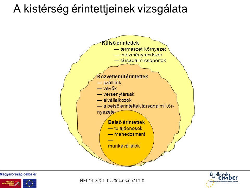 HEFOP 3.3.1–P.-2004-06-0071/1.0 A kistérség érintettjeinek vizsgálata Külső érintettek — természeti környezet — intézményrendszer — társadalmi csoport
