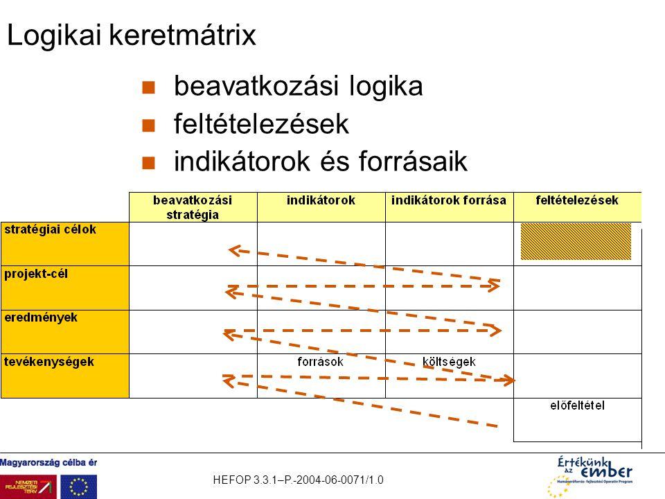 HEFOP 3.3.1–P.-2004-06-0071/1.0 Logikai keretmátrix beavatkozási logika feltételezések indikátorok és forrásaik