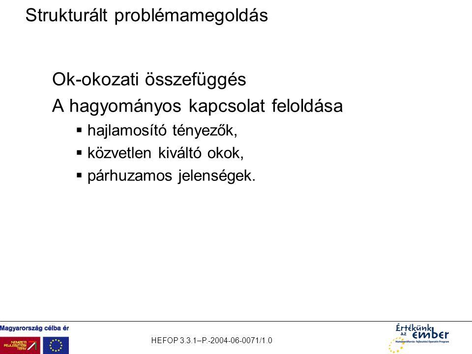 HEFOP 3.3.1–P.-2004-06-0071/1.0 Strukturált problémamegoldás Ok-okozati összefüggés A hagyományos kapcsolat feloldása  hajlamosító tényezők,  közvet