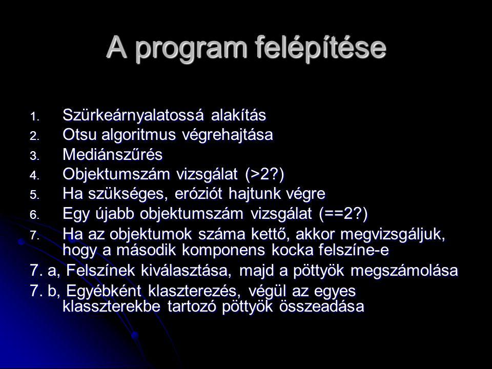 A program felépítése 1.Szürkeárnyalatossá alakítás 2.