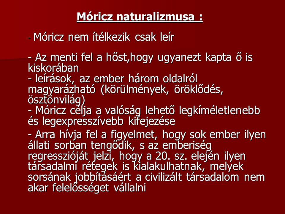 - Móricz nem ítélkezik csak leír - Az menti fel a hőst,hogy ugyanezt kapta ő is kiskorában - leírások, az ember három oldalról magyarázható (körülmény