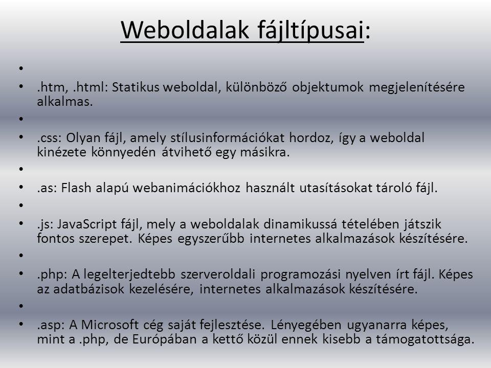 Weboldalak fájltípusai:.htm,.html: Statikus weboldal, különböző objektumok megjelenítésére alkalmas..css: Olyan fájl, amely stílusinformációkat hordoz, így a weboldal kinézete könnyedén átvihető egy másikra..as: Flash alapú webanimációkhoz használt utasításokat tároló fájl..js: JavaScript fájl, mely a weboldalak dinamikussá tételében játszik fontos szerepet.