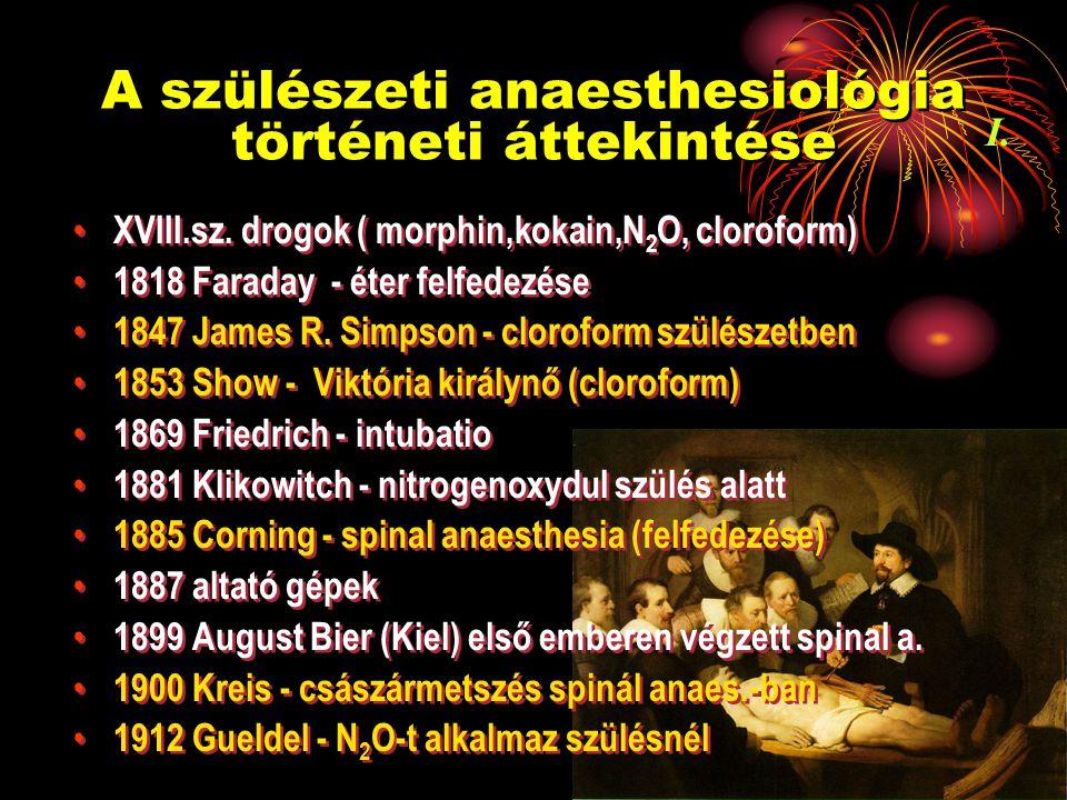 """A szülészeti anaesthesiológia történeti áttekintése 1931 Dogliotti L-EDA elmélete 1933 Graffagnino és Seyler - első szülészeti extraduralis lumbalis analgesia 1940 Lemmon caudalis blokád 1942 Hingson folyamatos L-EDA 1945 Tuohy és Curbelló szülés alatti EDA kombinált spinal-epidural technika """"moving epidural anaesthesia Akupunktúra, pszichoprofilaxis, transzkután elektro- stimuláció, stb."""