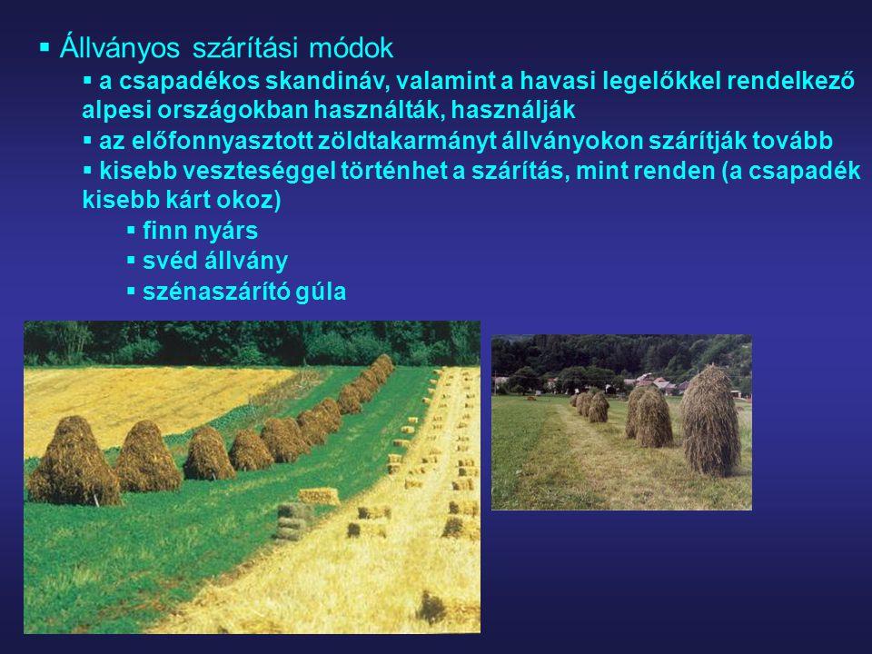  Állványos szárítási módok  a csapadékos skandináv, valamint a havasi legelőkkel rendelkező alpesi országokban használták, használják  az előfonnya