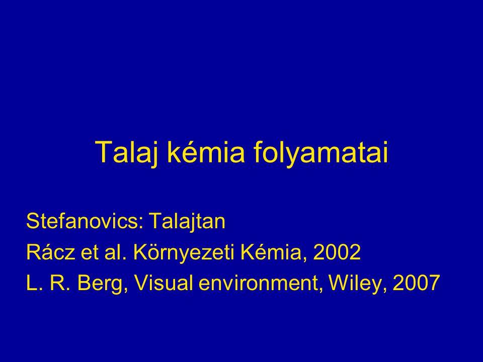 Talaj kémia folyamatai Stefanovics: Talajtan Rácz et al. Környezeti Kémia, 2002 L. R. Berg, Visual environment, Wiley, 2007