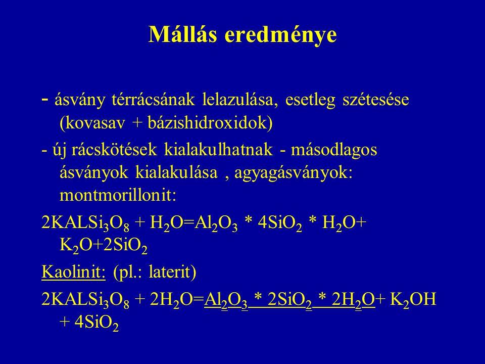 Mállás eredménye - ásvány térrácsának lelazulása, esetleg szétesése (kovasav + bázishidroxidok) - új rácskötések kialakulhatnak - másodlagos ásványok