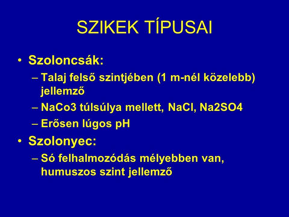 SZIKEK TÍPUSAI Szoloncsák: –Talaj felső szintjében (1 m-nél közelebb) jellemző –NaCo3 túlsúlya mellett, NaCl, Na2SO4 –Erősen lúgos pH Szolonyec: –Só f