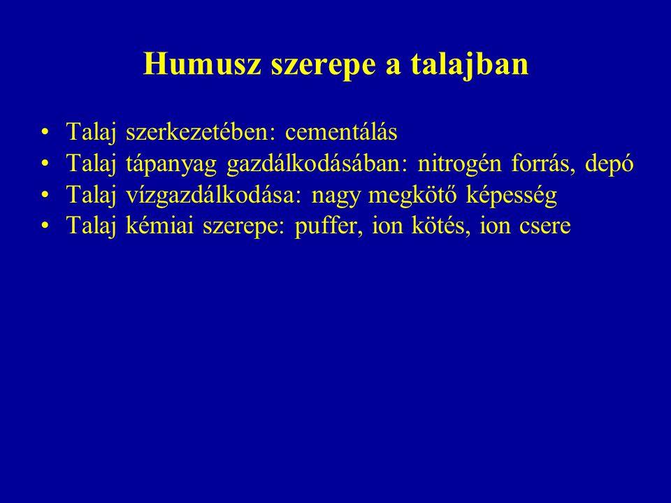 Humusz szerepe a talajban Talaj szerkezetében: cementálás Talaj tápanyag gazdálkodásában: nitrogén forrás, depó Talaj vízgazdálkodása: nagy megkötő ké