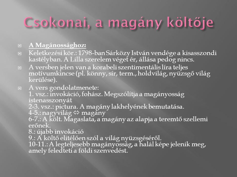  A Magánossághoz:  Keletkezési kör.: 1798-ban Sárközy István vendége a kisasszondi kastélyban.