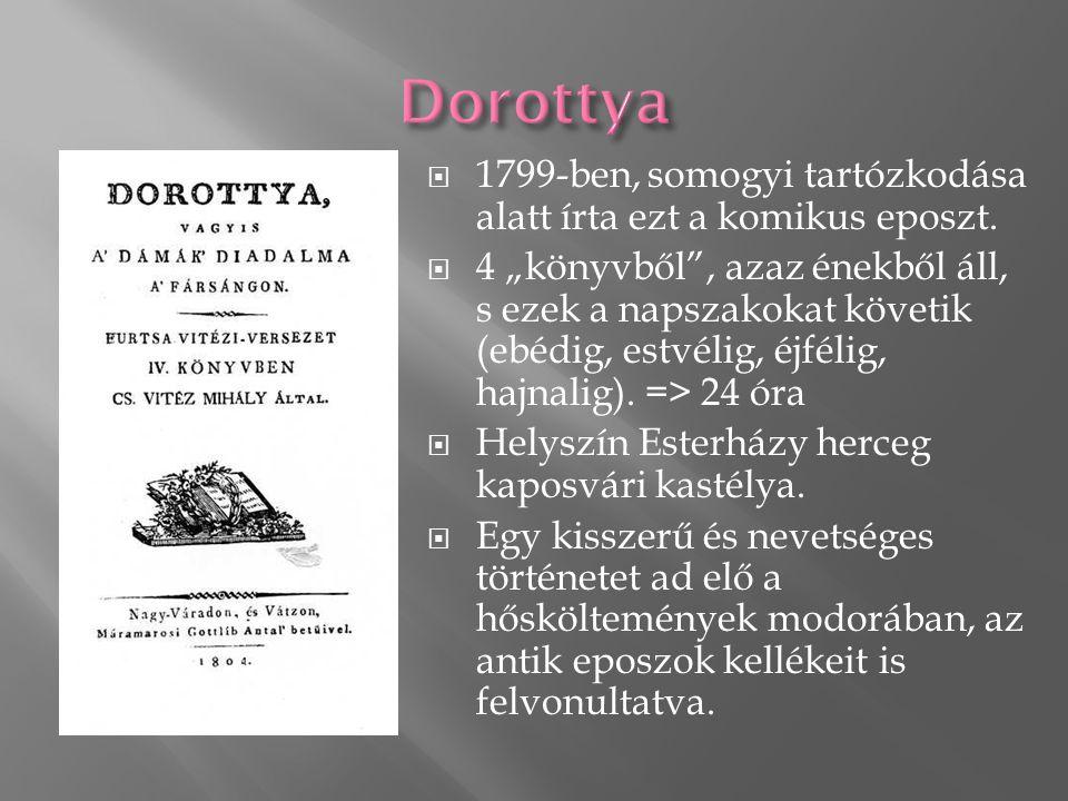  1799-ben, somogyi tartózkodása alatt írta ezt a komikus eposzt.