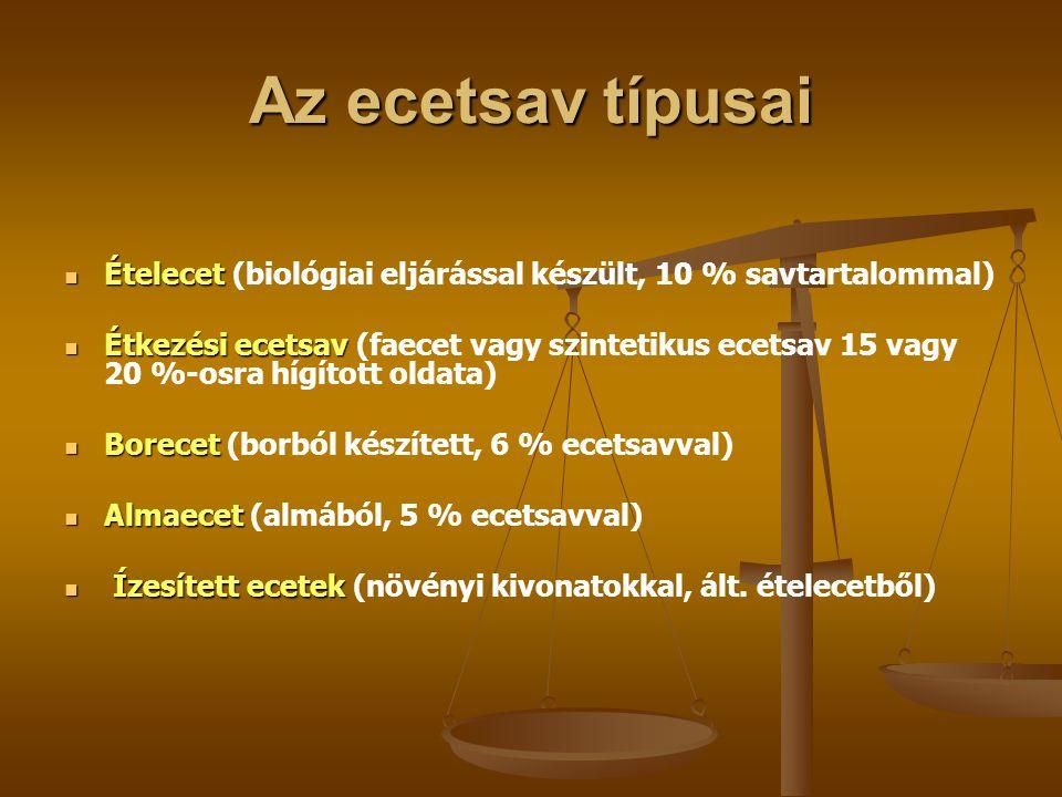 Az ecetsav típusai Ételecet Ételecet (biológiai eljárással készült, 10 % savtartalommal) Étkezési ecetsav Étkezési ecetsav (faecet vagy szintetikus ec