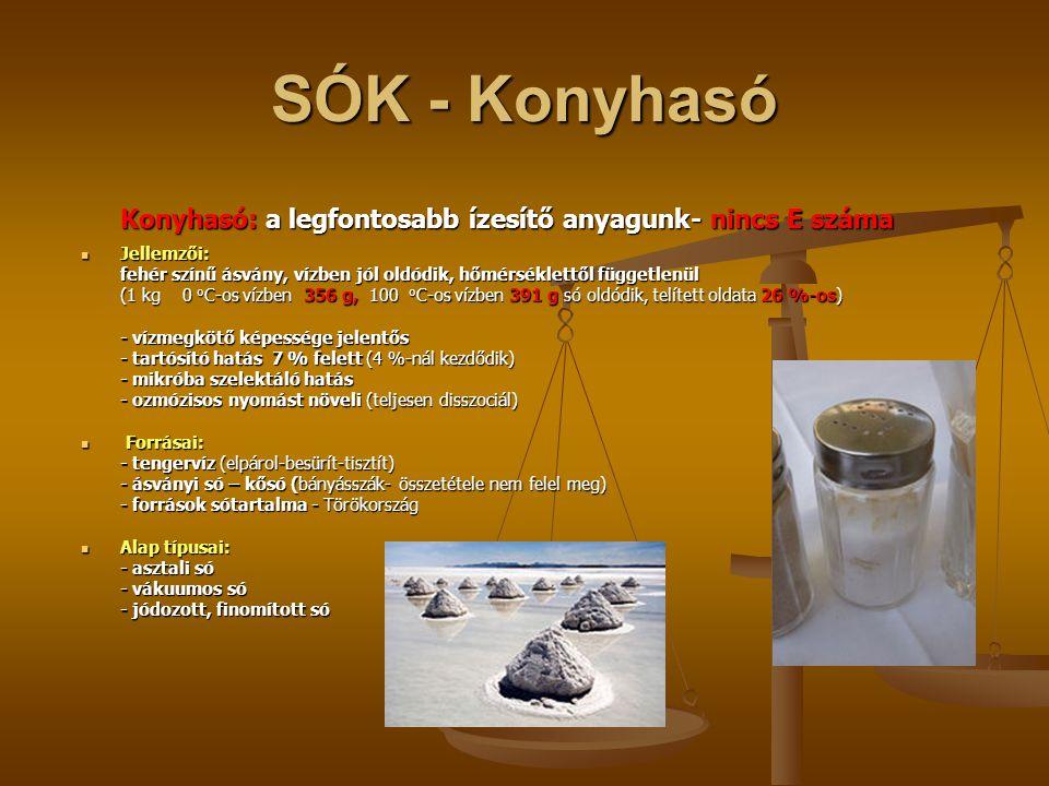 Kereskedelemben kapható sók Diétás sók: Diétás sók: K, Ca vagy Mg Egészben vagy részlegesen helyettesítve K, Ca vagy Mg ) sókkal (egészségügyi megítélés) Pácsók: Pácsók: Jellemző összetétele: 98,5 % NaCl, 0,5 % NaNO 2, 1,0 % NaNo 3.