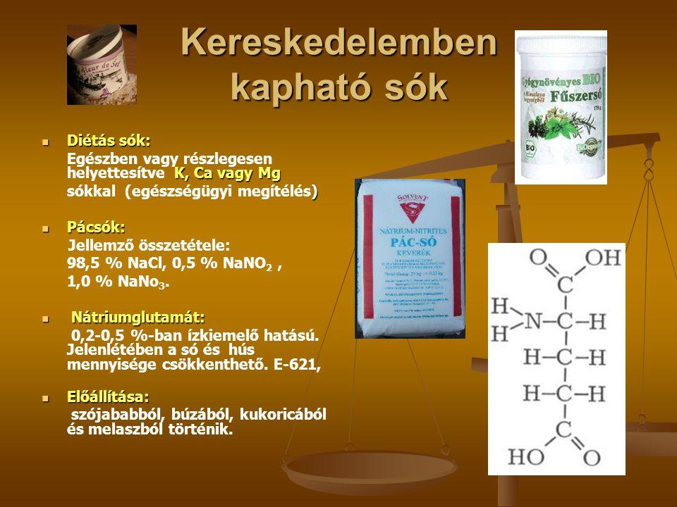 Kereskedelemben kapható sók Diétás sók: Diétás sók: K, Ca vagy Mg Egészben vagy részlegesen helyettesítve K, Ca vagy Mg ) sókkal (egészségügyi megítél