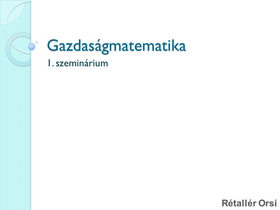 Tudnivalók a tantárgyról Szemináriumi diák: http://uni-corvinus.hu/~u2w6ol Számonkérés: ZH év végén Ponthatárok: - 39 : 1 40 - 54 : 2 55 - 69 : 3 70- 84 : 4 85-: 5