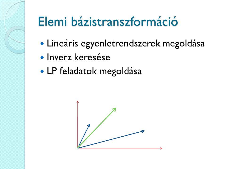 Elemi bázistranszformáció Lineáris egyenletrendszerek megoldása Inverz keresése LP feladatok megoldása