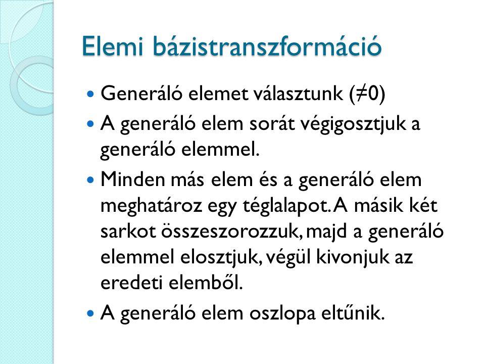 Elemi bázistranszformáció Generáló elemet választunk (≠0) A generáló elem sorát végigosztjuk a generáló elemmel. Minden más elem és a generáló elem me