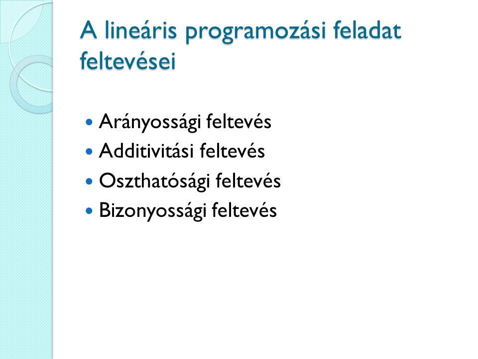 A lineáris programozási feladat feltevései Arányossági feltevés Additivitási feltevés Oszthatósági feltevés Bizonyossági feltevés