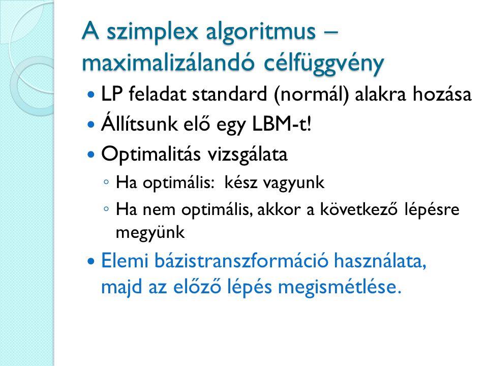 A szimplex algoritmus – maximalizálandó célfüggvény LP feladat standard (normál) alakra hozása Állítsunk elő egy LBM-t.
