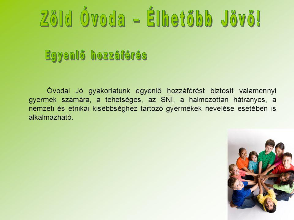 Óvodai Jó gyakorlatunk egyenlő hozzáférést biztosít valamennyi gyermek számára, a tehetséges, az SNI, a halmozottan hátrányos, a nemzeti és etnikai ki