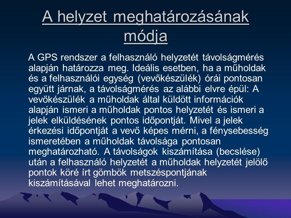 A helyzet meghatározásának módja A GPS rendszer a felhasználó helyzetét távolságmérés alapján határozza meg. Ideális esetben, ha a műholdak és a felha